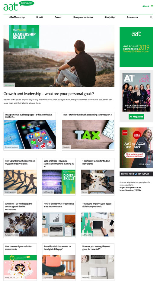 Content for AAT Comment, digital news site for Associating of Accounting Technicians