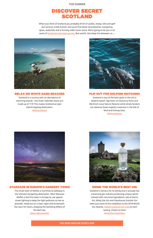 Content for Visit Scotland and Hostelworld brand campaign