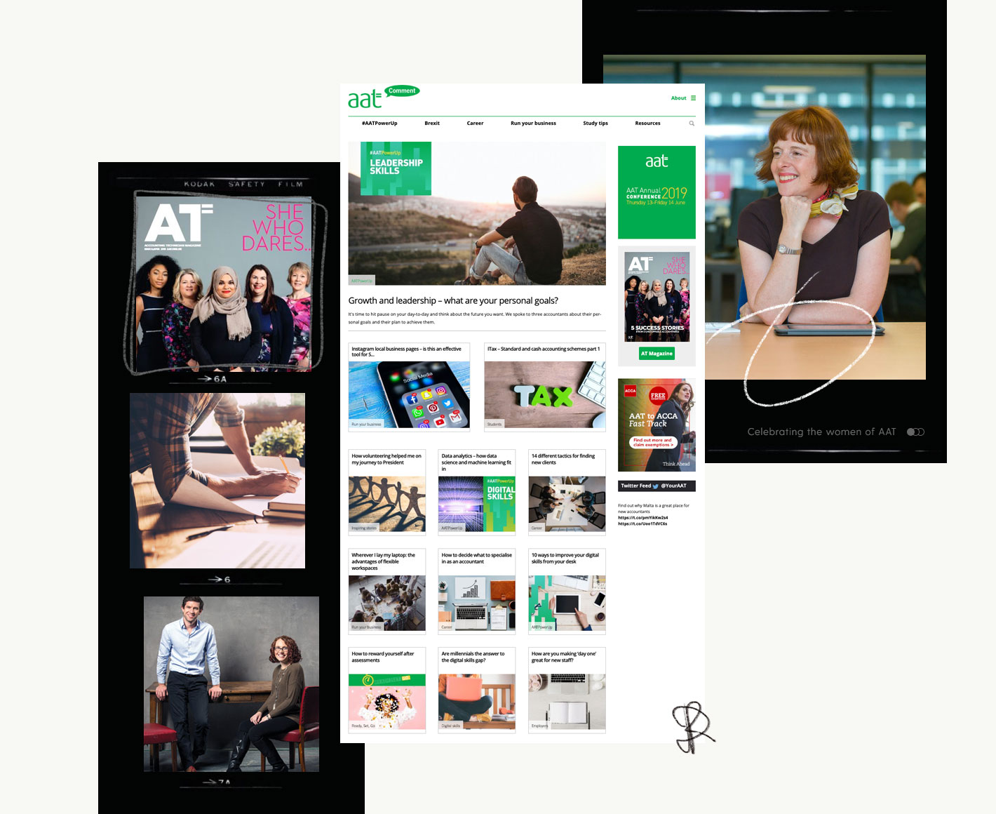 Collage of editorial content for AAT Comment