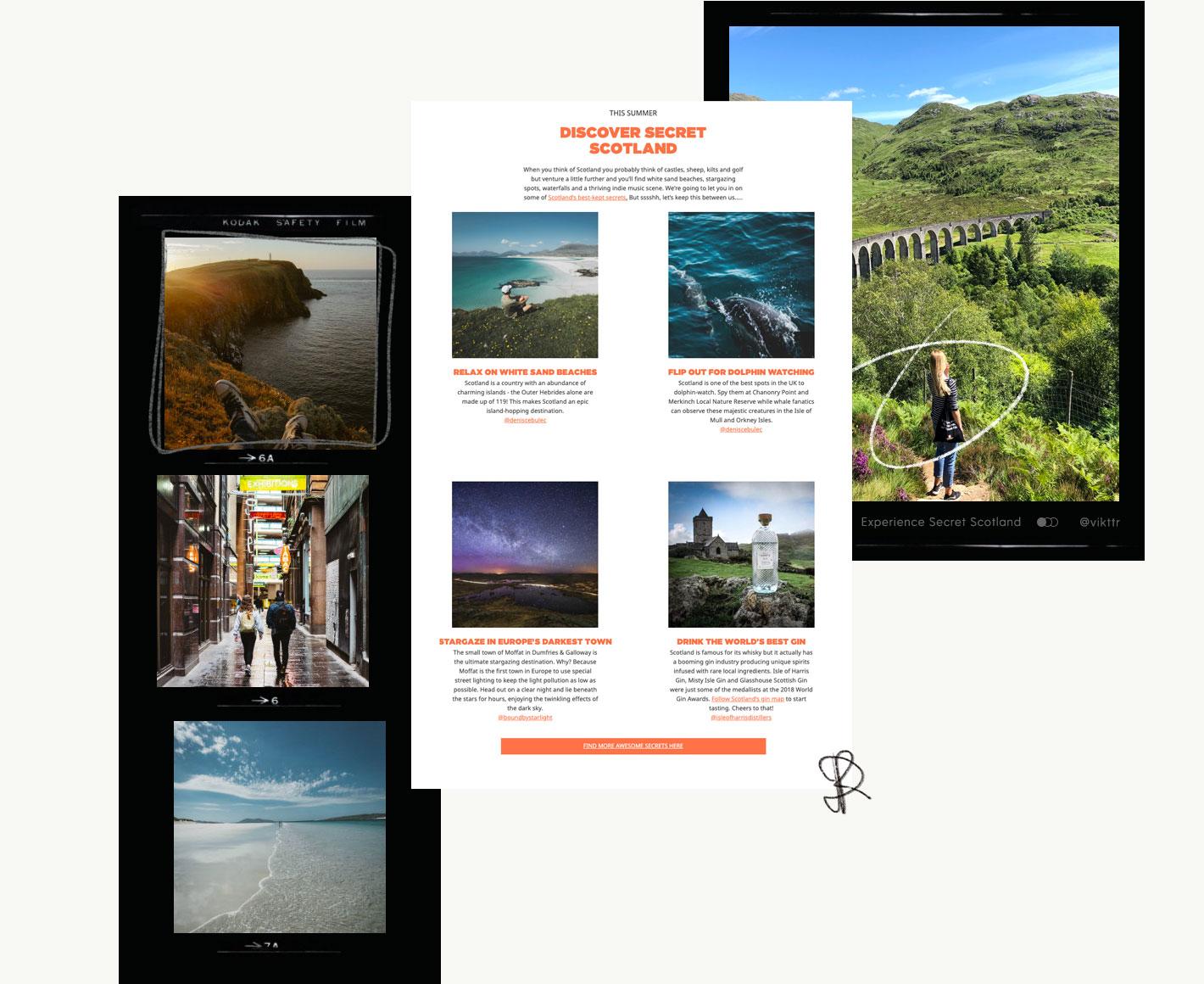 Collage showing Visit Scotland portfolio
